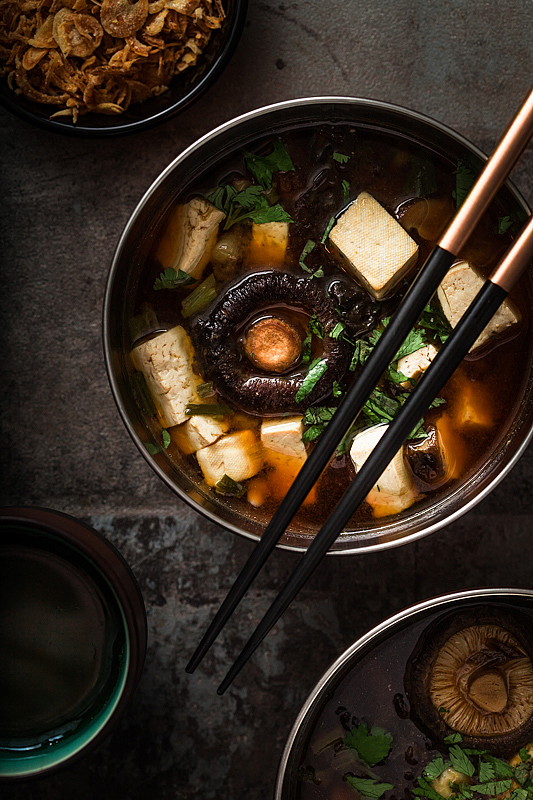 Vegan Miso Soup in a bowl with tofu and shiitake mushrooms