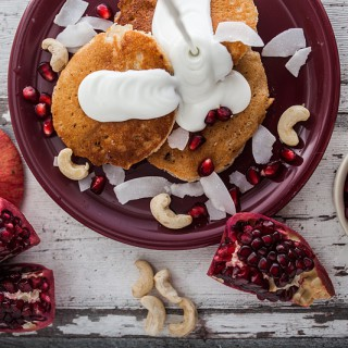 Cashew Coconut Pancakes with Curd Topping