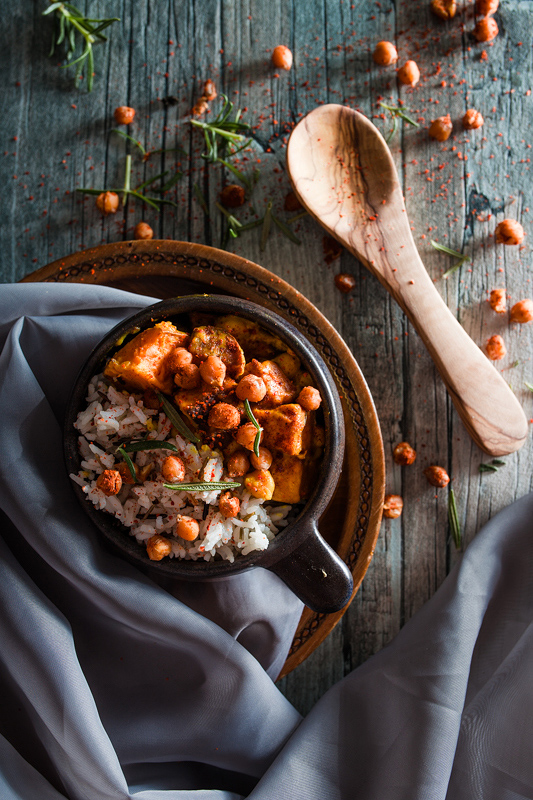 Curry with a twist: Roasted Sweet Potatoes and Chickpeas