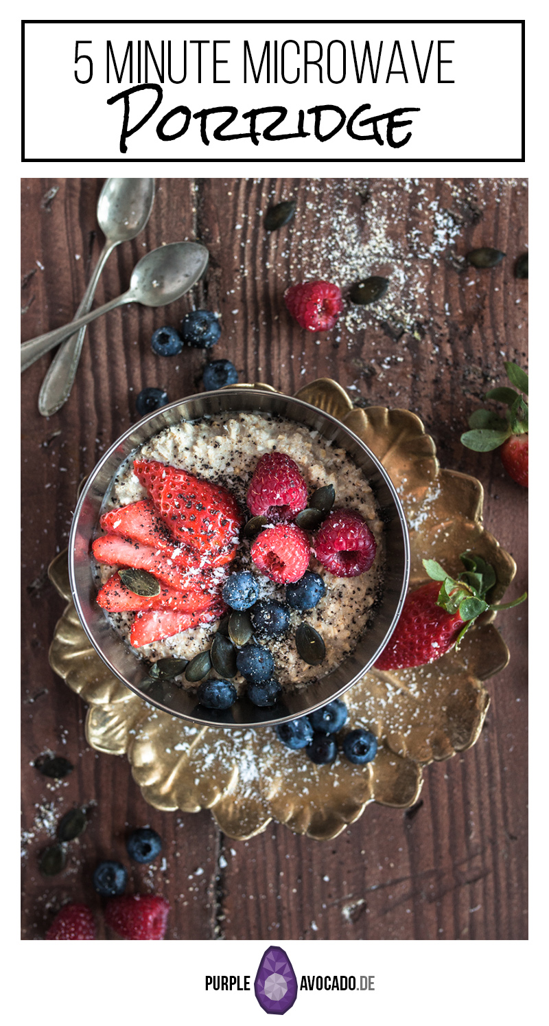 Do you like Oatmeal but hate the hassle of boiling milk in a pot and then maniacally stirring for an eternity? Take a shortcut and make microwave porridge. #recipe #foodstyling #breakfast #porridge #vegan