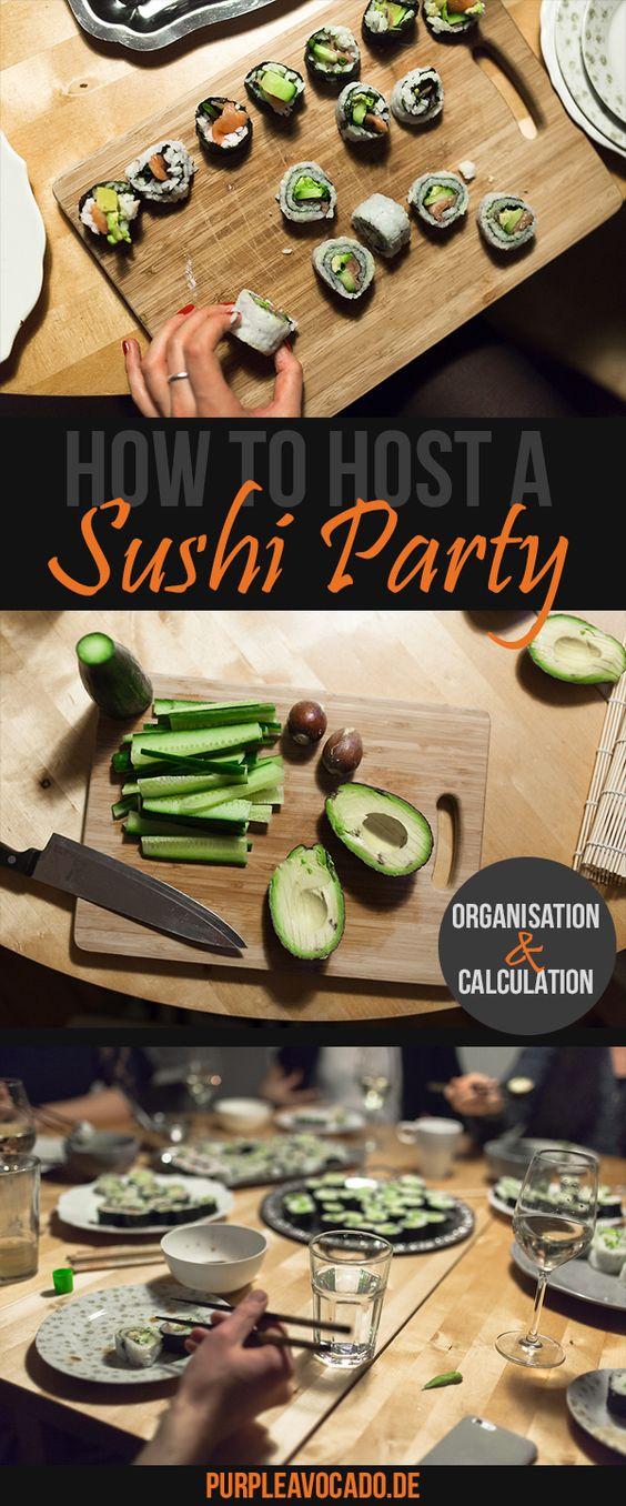 Wie plant man richtig einen Sushi Abend, ohne im bodenlosen Chaos zu versinken? Tipps und Tricks zur Planung, Durchführung und Mengen und Kostenkalkulation gibt es auf Purple Avocado.