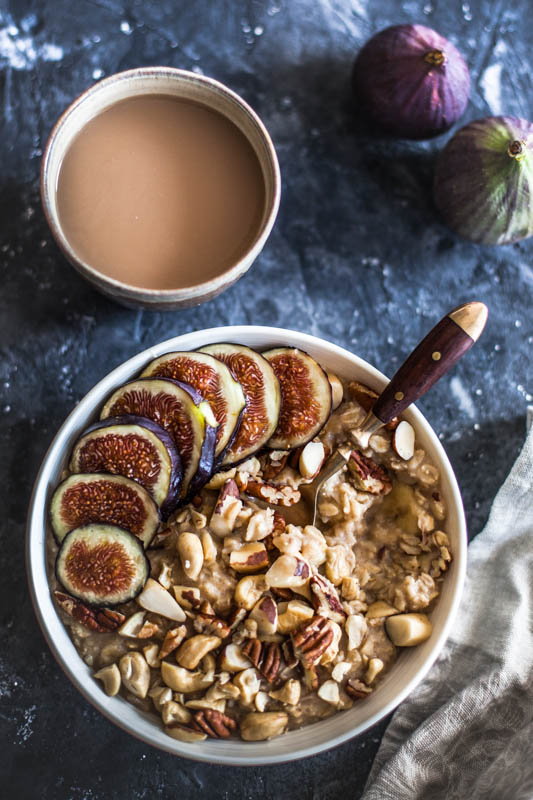 Quick & easy 5 minute microwave porridge recipe served with figs and nuts
