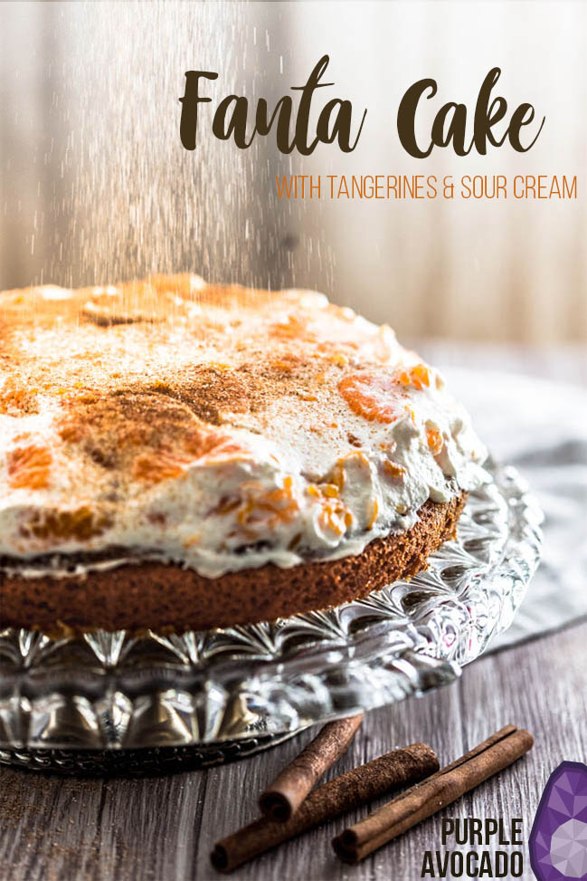 Fanta Cake Recipe for a fluffy, soft and moist birthday cake with mandarins and sour cream. #cake #baking #cream #birthday