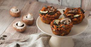 Vegan, savory sweet potato muffins with mushrooms, zucchini and pumpkin seeds. Recipe on Purple Avocado.