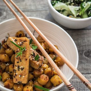 Tofu Gnocchi Bowl mit Spinat Pak Choi Salat [From my fridge]