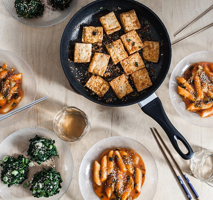 Spinach Salad, Tteokbokki and crunchy Tofu – Korean cooking with Dennis {Food from Friends}