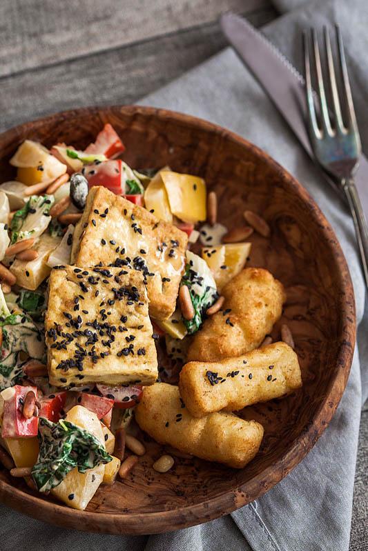 Gemüse und knuspriger Tofu in Senfsoße [From my Fridge]