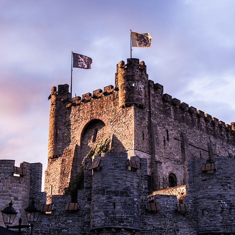 The imposing Castle Gravensteen in the heart of Ghent, Belgium