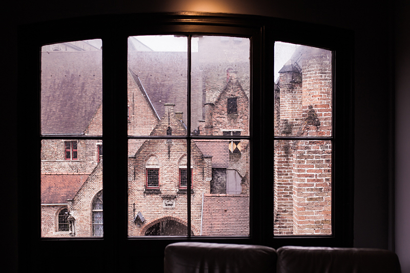 View out of the windows of Old St. Johns Hospitel in Bruges, Belgium