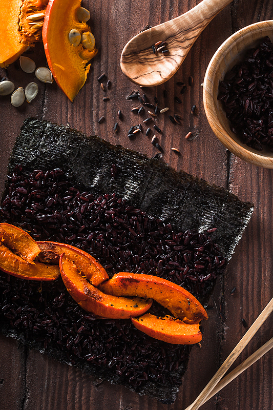 Top 20 Recipes 2016 from Purple Avocado - Vegan black rice pumpkin sushi