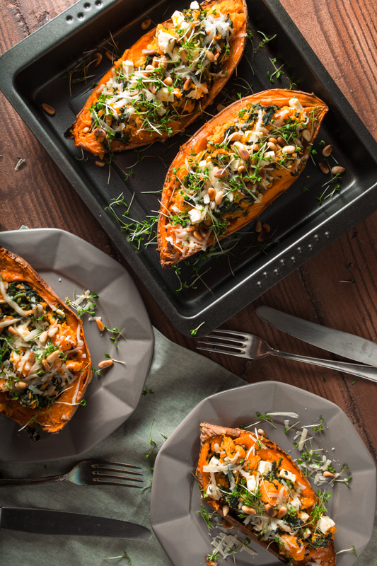 Top 20 Recipes 2016 from Purple Avocado - Stuffed Sweet Potato from the oven with Spinach, Pineseeds, feta and cress