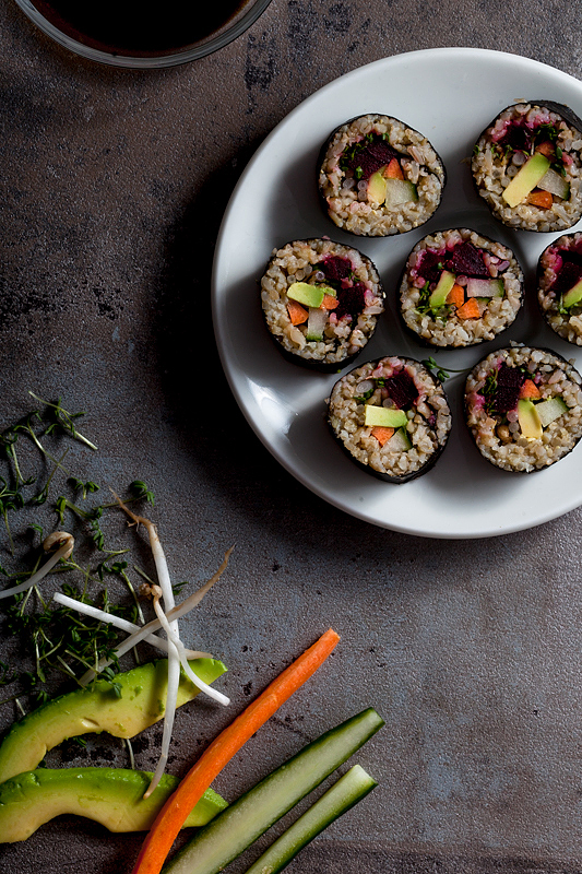 Top 20 Recipes 2016 from Purple Avocado - Green Spelt Sushi with Avocado, Cress, Beetroot, Carrots and Cucumber