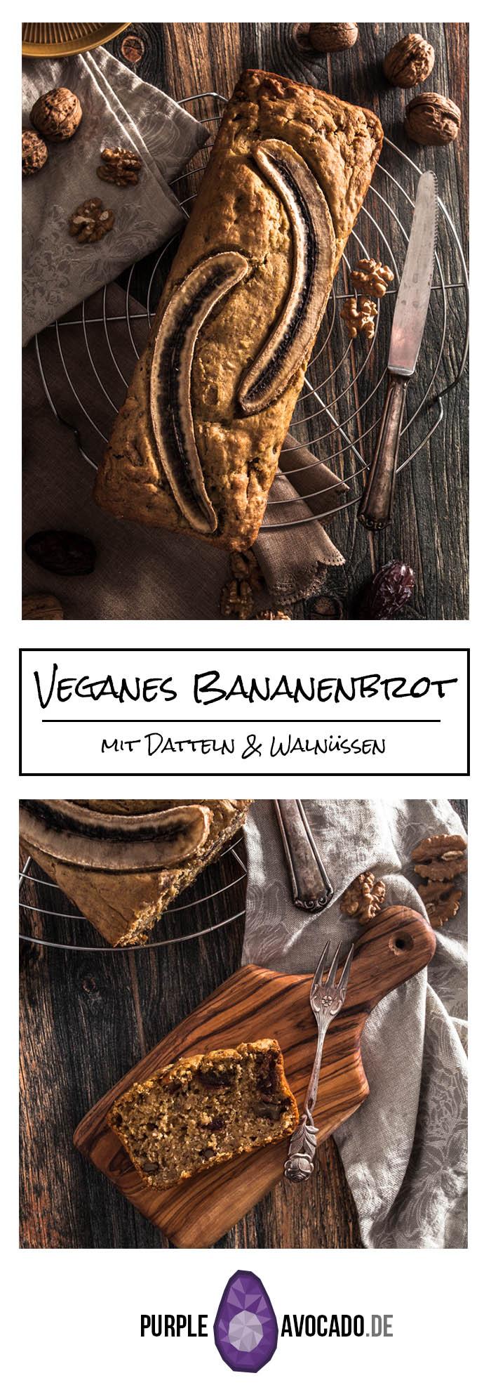 Bananenbrot mit Datteln und Walnüssen. Schön saftig und weich mit wenig / keinem Zucker und vegan. #rezept #foodstyling #backen #vegan #foodphotography