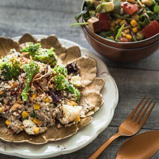Low Carb Gemüsepfanne mit Blumenkohlreis und Mandelmus-Soße [From my Fridge]
