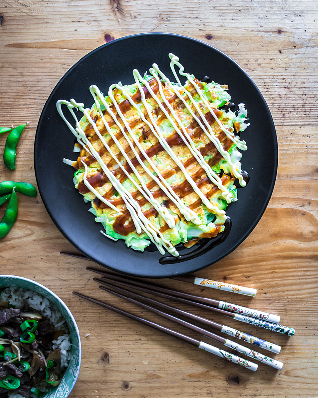 Classical recipe for Okonomiyaki by Senta. I was petting cats and Senta was cooking japanese - for my series 'Food from Friends' a culinary journey to friends. Now on Purple Avocado.