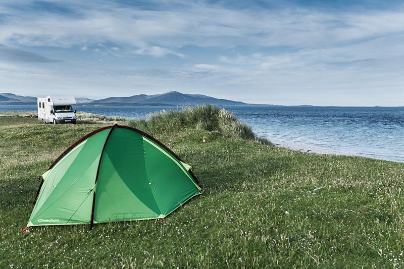 Die schönsten Campingplätze in Schottland auf den äußeren Hebriden. North Uist: Berneray Youth Hostel and Camping