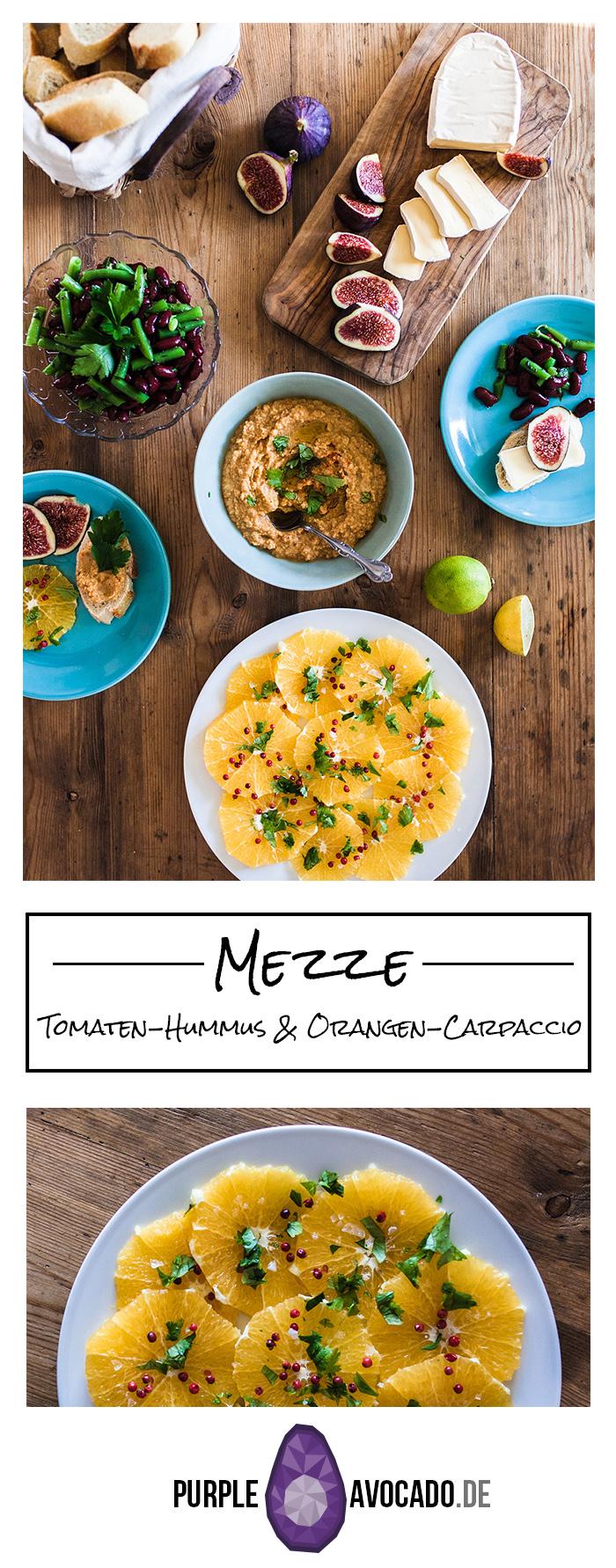 Mezze, viele verschiedene, kleine Speisen sind genau die richtige Speise für heiße Sommertage als auch grundsätzlich für Entscheidungs-Unwillige. Bei uns gab es dieses Mal kräftigen Tomaten-Hummus, leichtes Orangen-Carpaccio, einen sauer angemachten grünen Bohnensalat, sowie Camembert mit süßen Feigen und Honig.