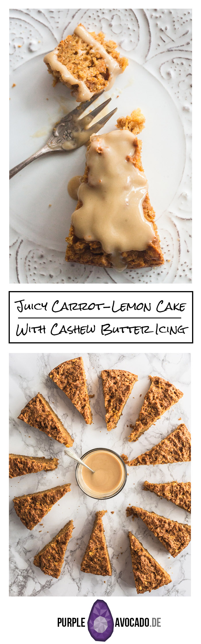 Here's a recipe for a soft and tender vegan Carrot Lemon Cake with Cashew Butter Icing. The juicy carrot cake will stay fresh in the fridge for a couple of days. The slightly bitter, nutty cashew icing gives it a special twist, the fresh lemon juice and lemon zest add a sour and fruity note.