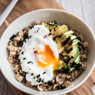 Savory porridge with avocado and poached egg