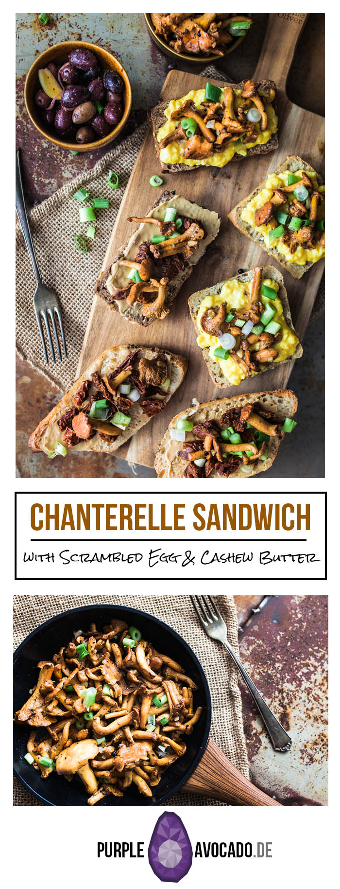 For breakfast, brunch or lunch – Those chanterelle sandwiches with scrambled egg, dried tomatoes and cashew butter surely will satisfy your tastebuds with a variety of tastes and textures.