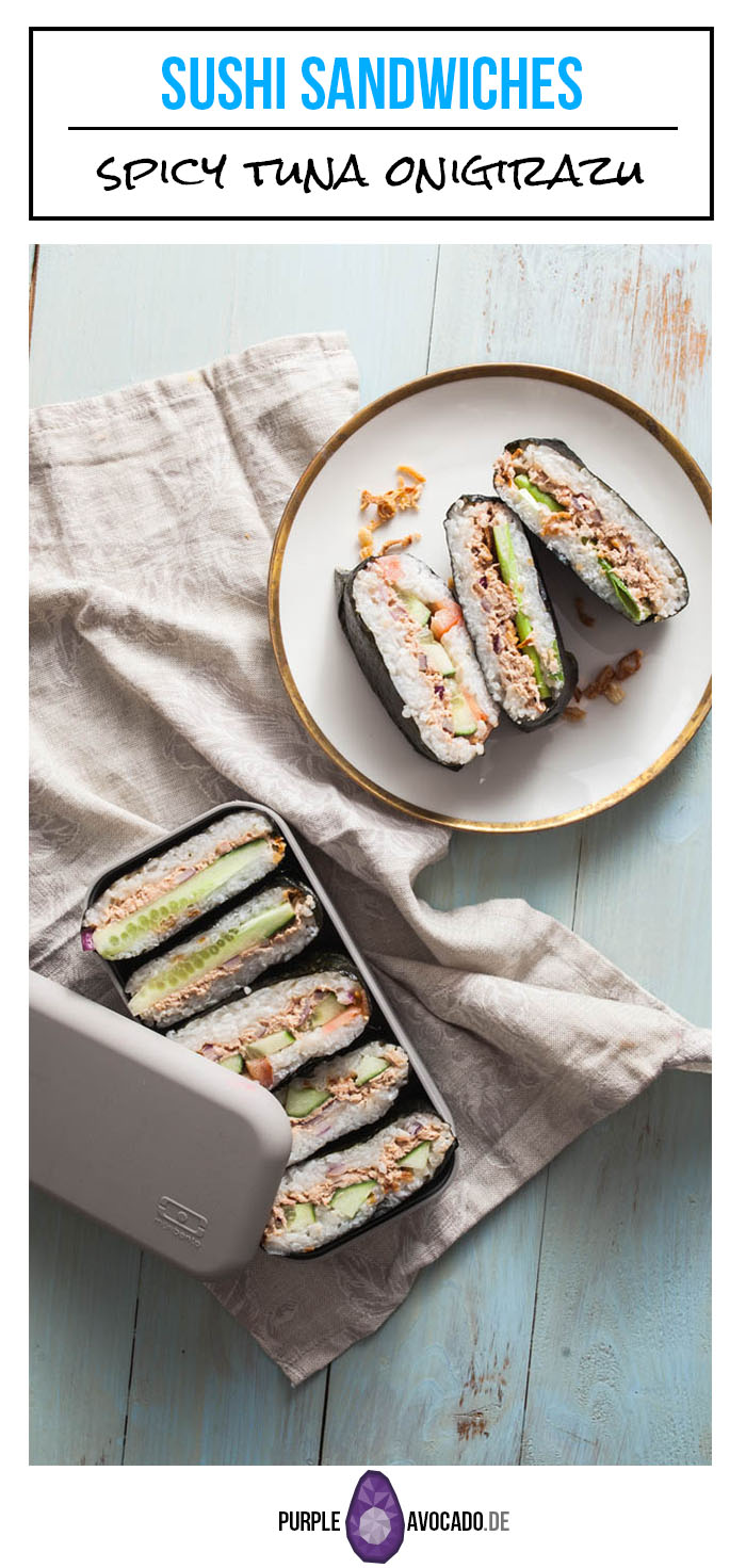 Recipe for Japanese Rice Sandwiches << Onigirazu >> with spicy tuna filling.