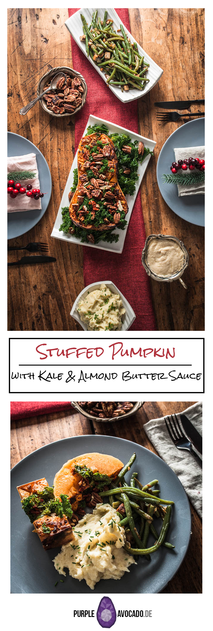 Stuffed pumpkin with kale, pecan nuts, dried tomatoes and a rich almond butter sauce. #vegan #recipe #christmas #holidays #autumn #winter #kale #foodstyling #food #photography