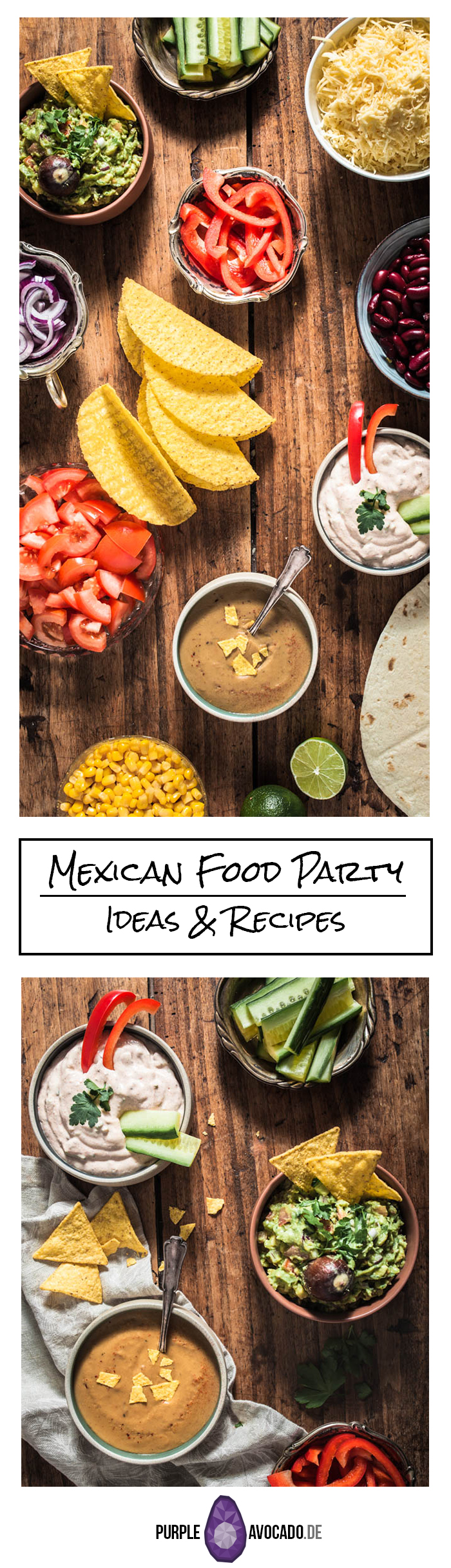 Recipes, ideas and inspiration for plant-based, vegan Mexican Party food with tortillas, tacos, veggies, pulled BBQ jackfruit and marinated cauliflower wings