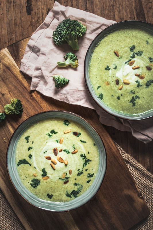 Cream of Broccoli Soup with Hummus