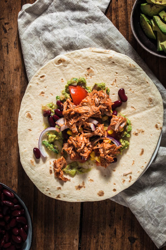 Mexican party food: Pulled BBQ jackfruit on a tortilla