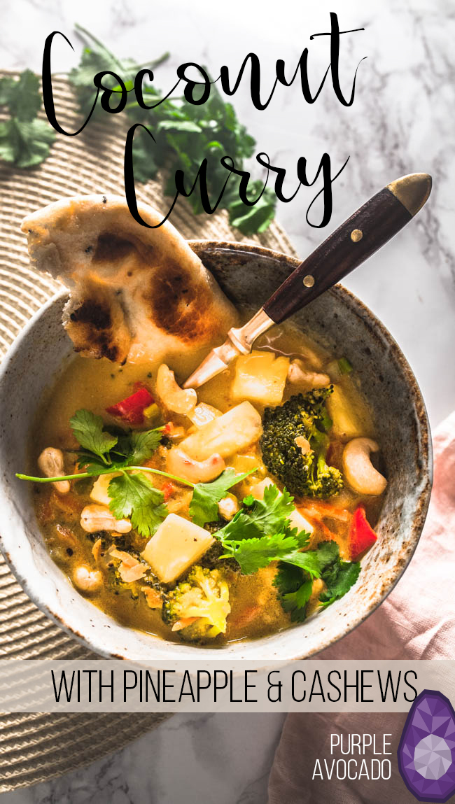 Recipe for vegan coconut curry with pineapple and cashews. #golden #curry #yellow #vegetarian #vegan #indian #thai #recipe