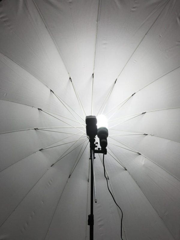 a frame filling photo umbrella with a flash light and daylight lamp mounted in front of it