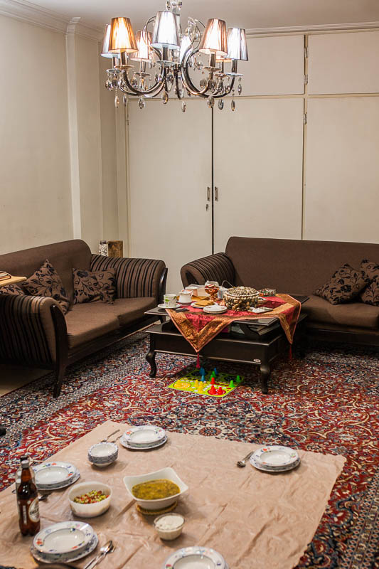 The Iranian living room I stayed at on my first day in Iran. Iranian traditionally eat on the floor