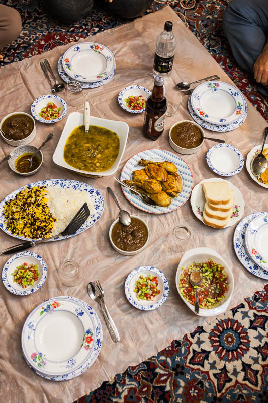Traditional Iranian dishes served on the floor