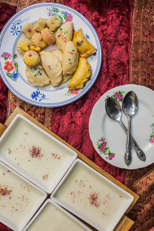 Traditional Iranian Cookies and a dessert with rose water and rice flour