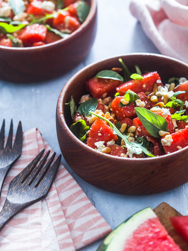 A bowl of feta watermelon basil salad