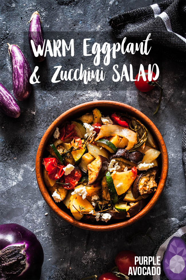 Warm aubergine and courgette salad // Warm egg plants and zucchini potato salad. Get the recipe at purpleavocado.de // #foodstyling #foodphotography #summersalad #summerrecipe #summer #recipes #vegan #vegetarian