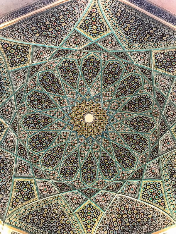Tiled rooftop of the Hafez Memorial in Shiraz, Iran