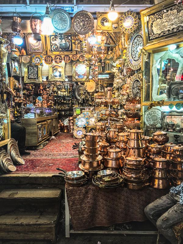 Iranian copperware at a the Vakil bazaar in Shiraz, Iran