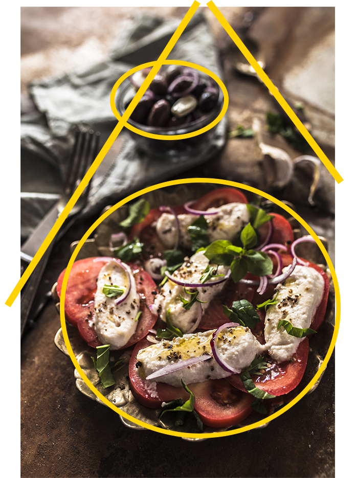 Compositional lines and shapes explained with a rustic food photo of tomato and mozzarella cheese