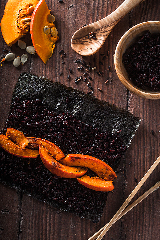Give your Sushi a little twist and try this black rice, roasted pumpkin suhi version. It does not only look bad ass, it's goddamn delicious
