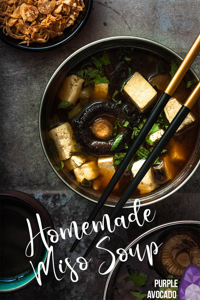 Miso Soup vegan recipe - a delicious Japanese soup with miso paste, tofu and spring onions