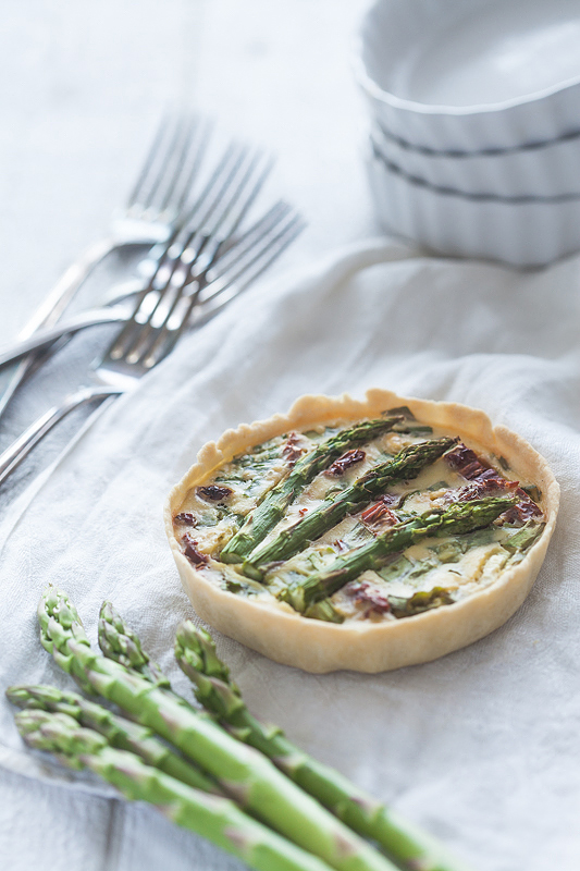 Vegan Quiche with green Asparagus