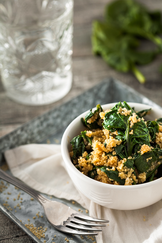 Couscous with Spinach and Peanut Sauce