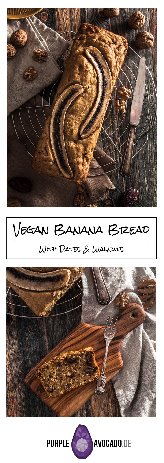 Recipe for a healthy banana bread with dates and walnuts. #recipes #vegan #sugarless #baking
