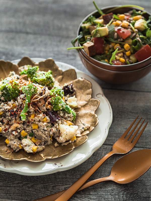Quick and easy recipe for low carb cauliflower rice with veggies and an almond butter sauce