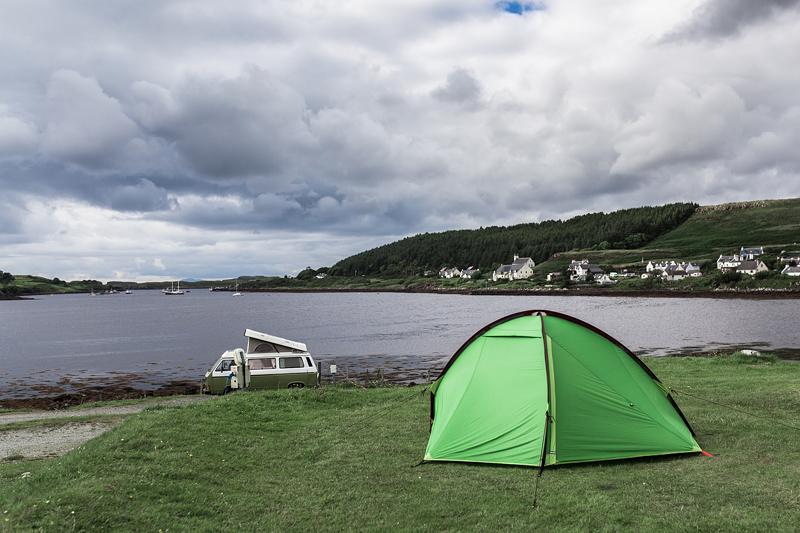 Tolle Campinglätze in Schottland auf der Isle of Skye. Dunvegan: Kinloch Campsite