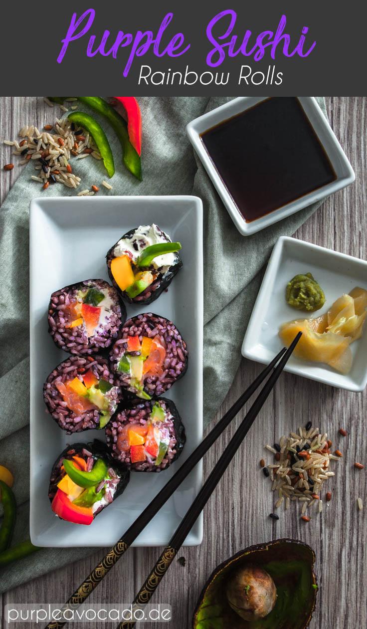 Regenbogen Rollen - Sushi mit lila Reis, gefüllt mit Paprika, Avocado und Lachs ganz einfach zu Hause selber machen. Rezept und Foodstyling von Purple Avocado