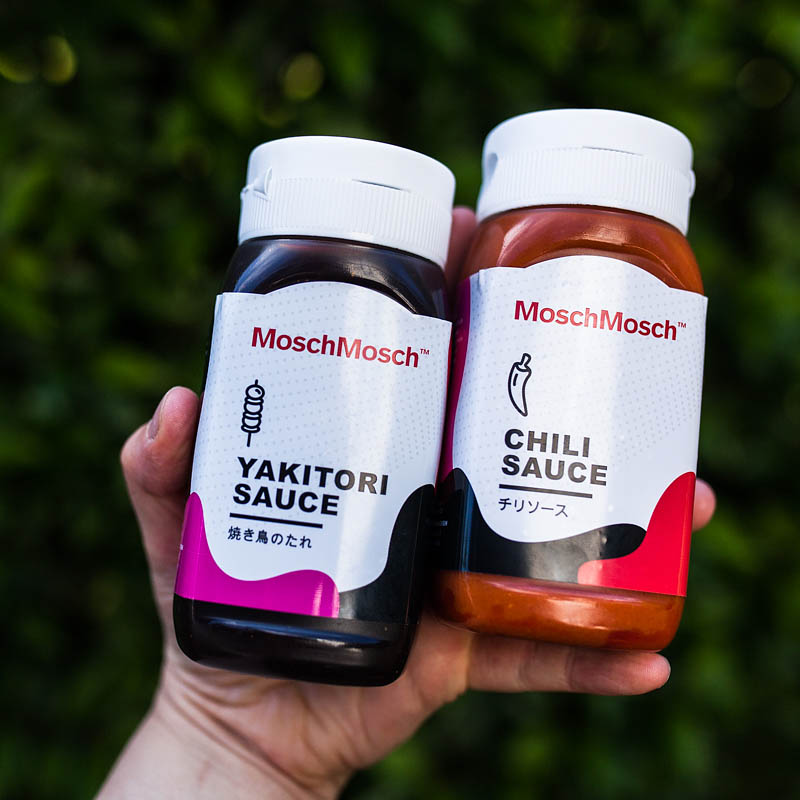 Barbecue Sauces from MoschMosch: Sweet BBQ Yakitori Sauce and fruity Chili Sauce
