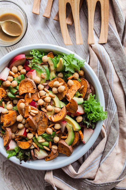 Nectarine & Sweet Potato Salad with Maple Syrup & Mustard Dressing