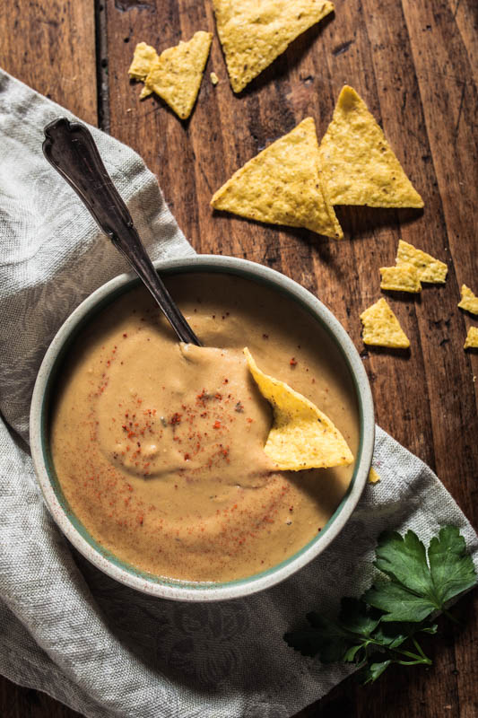 Homemade vegan 'cheese dip', cheesy egg plant queso.